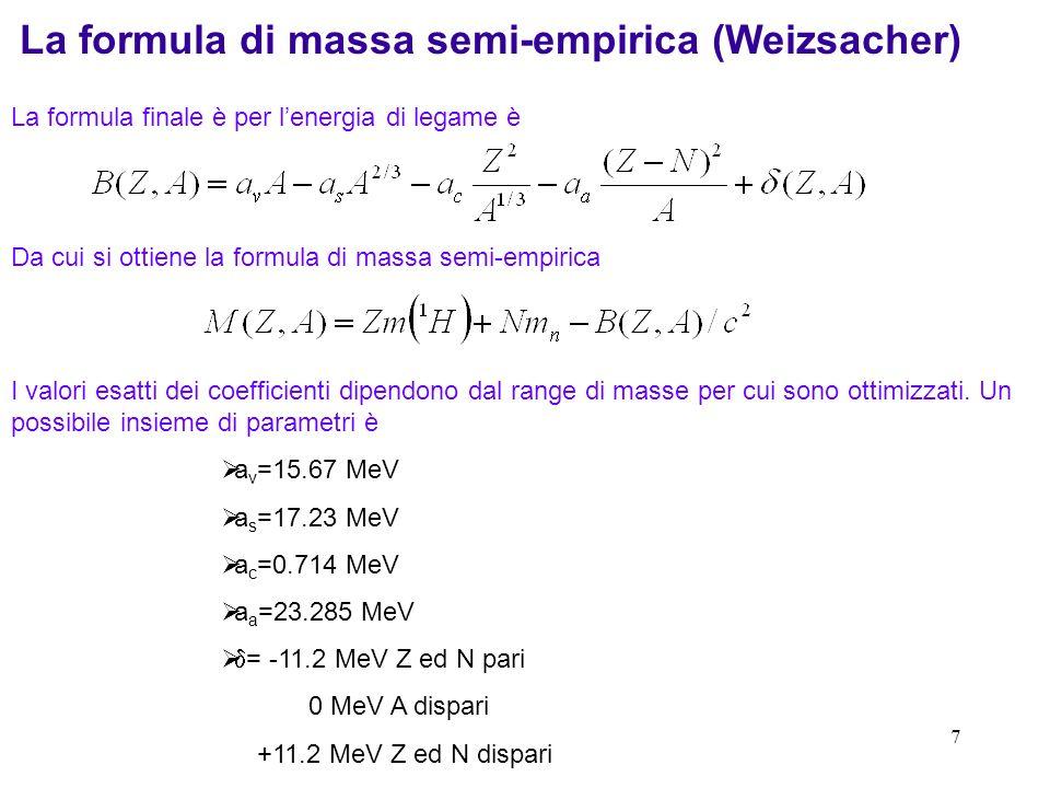 La formula di massa semi-empirica (Weizsacher)