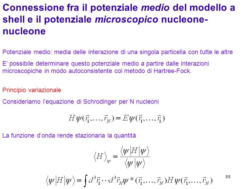 Connessione fra il potenziale medio del modello a shell e il potenziale microscopico nucleone-nucleone