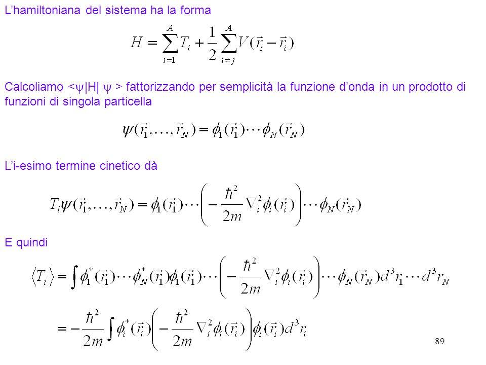 L'hamiltoniana del sistema ha la forma