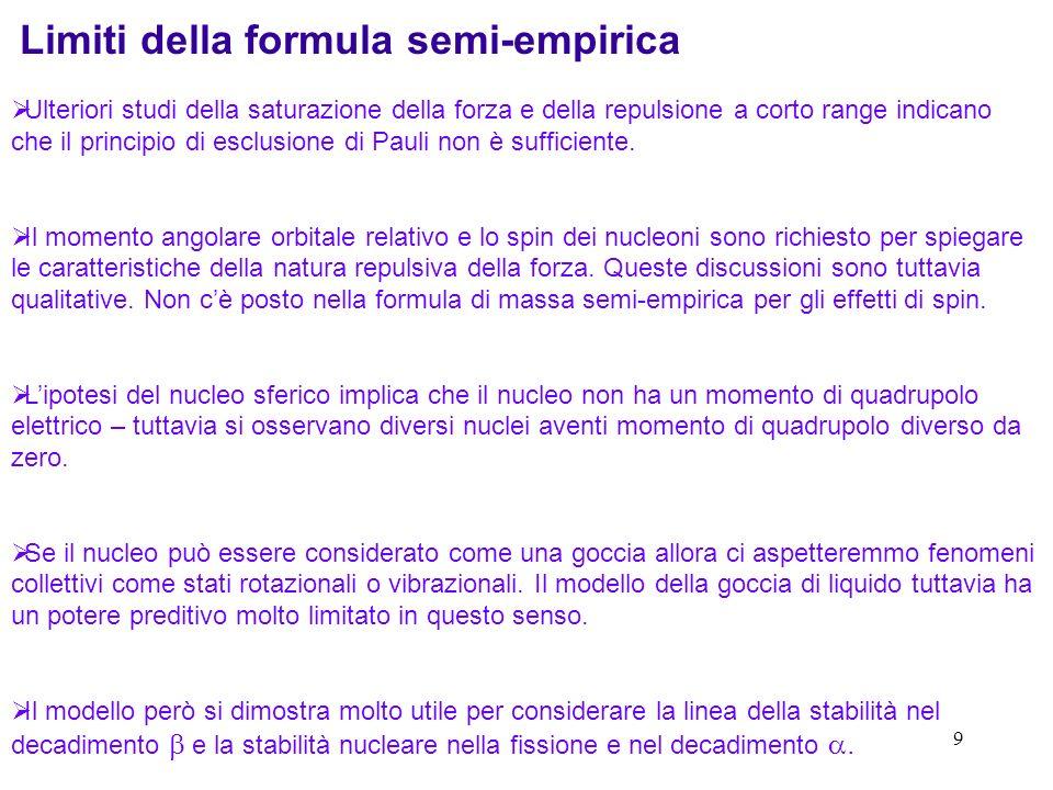 Limiti della formula semi-empirica
