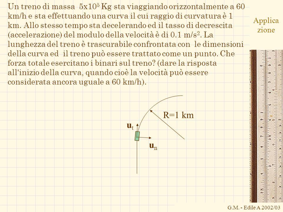 Un treno di massa 5x105 Kg sta viaggiando orizzontalmente a 60 km/h e sta effettuando una curva il cui raggio di curvatura è 1 km. Allo stesso tempo sta decelerando ed il tasso di decrescita (accelerazione) del modulo della velocità è di 0.1 m/s2. La lunghezza del treno è trascurabile confrontata con le dimensioni della curva ed il treno può essere trattato come un punto. Che forza totale esercitano i binari sul treno (dare la risposta all inizio della curva, quando cioè la velocità può essere considerata ancora uguale a 60 km/h).