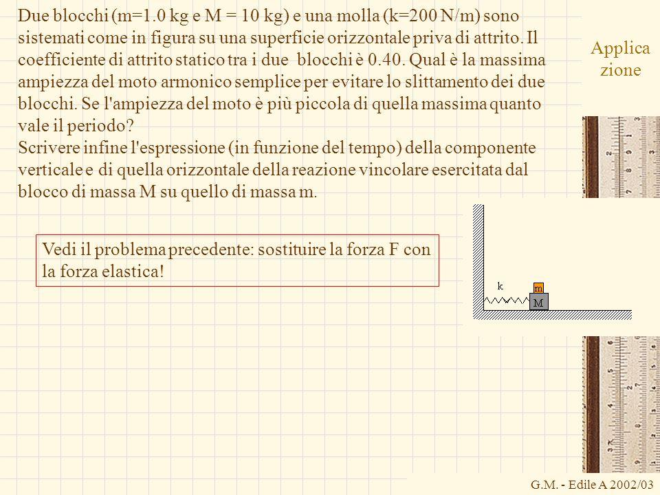 Due blocchi (m=1.0 kg e M = 10 kg) e una molla (k=200 N/m) sono sistemati come in figura su una superficie orizzontale priva di attrito. Il coefficiente di attrito statico tra i due blocchi è 0.40. Qual è la massima ampiezza del moto armonico semplice per evitare lo slittamento dei due blocchi. Se l ampiezza del moto è più piccola di quella massima quanto vale il periodo