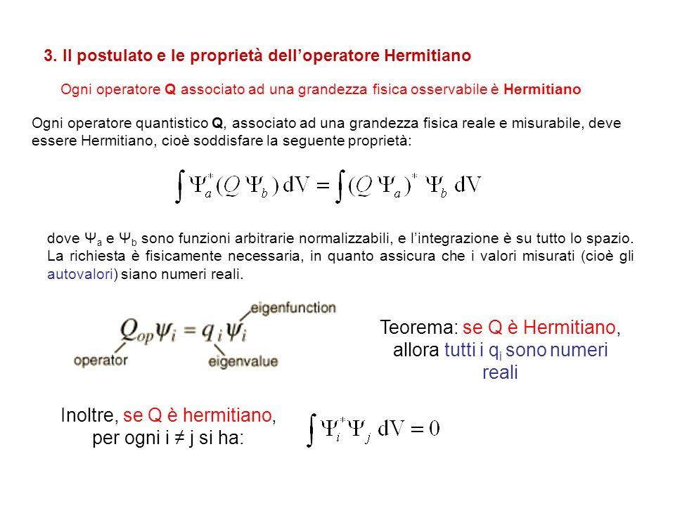 Teorema: se Q è Hermitiano, allora tutti i qi sono numeri reali
