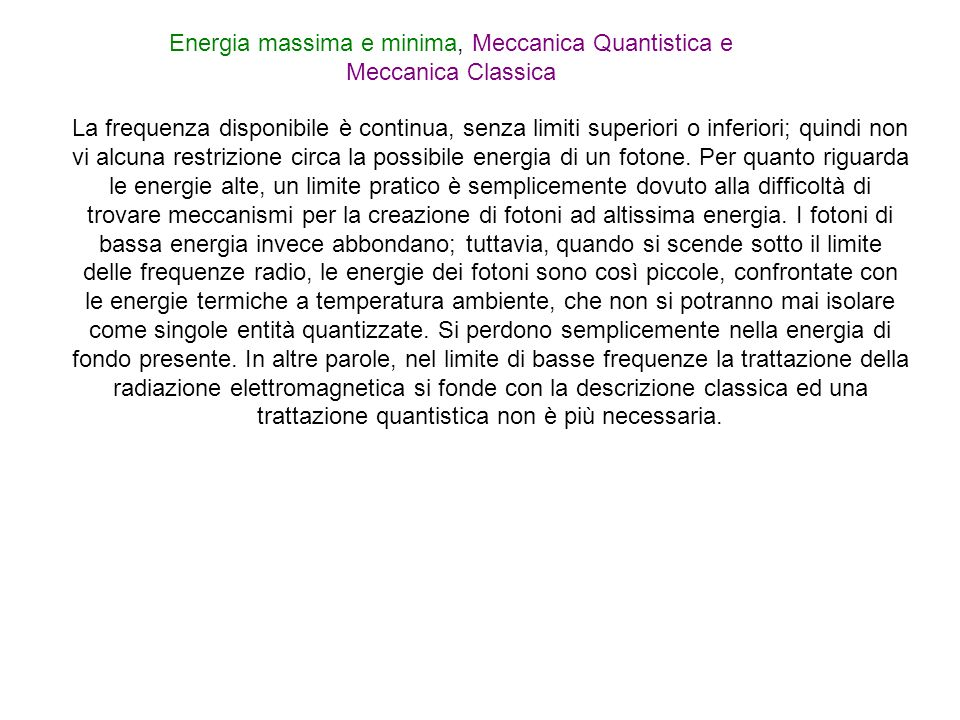 Energia massima e minima, Meccanica Quantistica e Meccanica Classica
