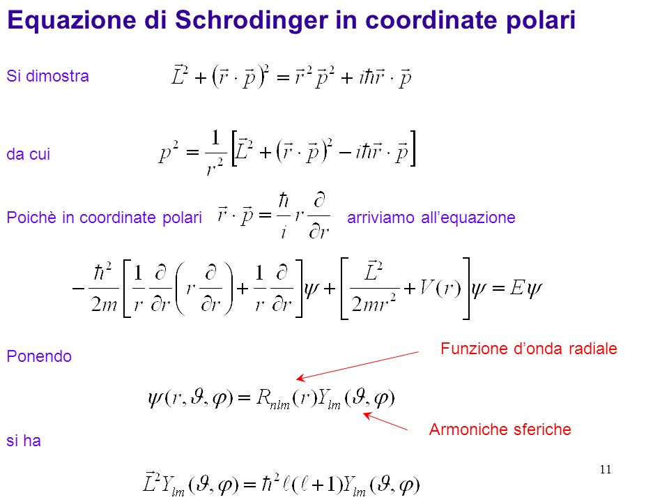 Equazione di Schrodinger in coordinate polari