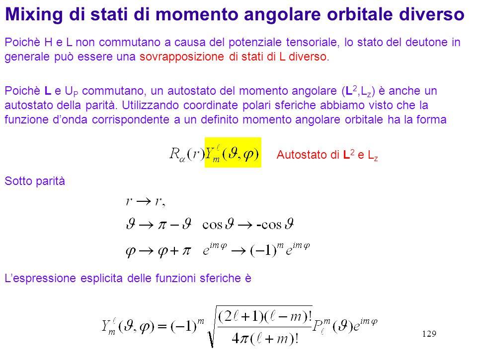 Mixing di stati di momento angolare orbitale diverso
