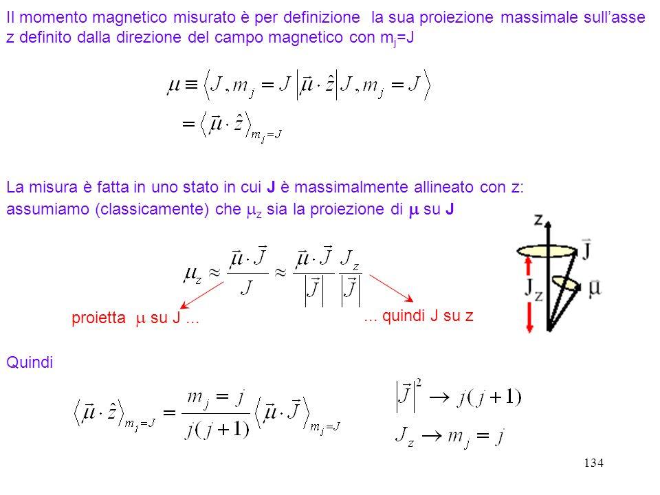 Il momento magnetico misurato è per definizione la sua proiezione massimale sull'asse z definito dalla direzione del campo magnetico con mj=J