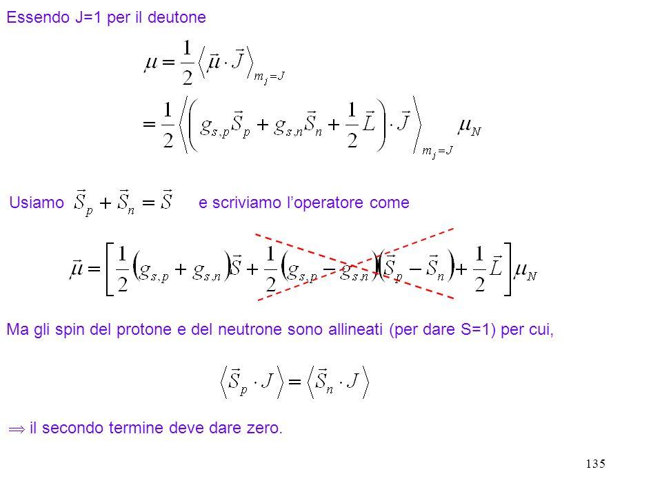 Essendo J=1 per il deutone