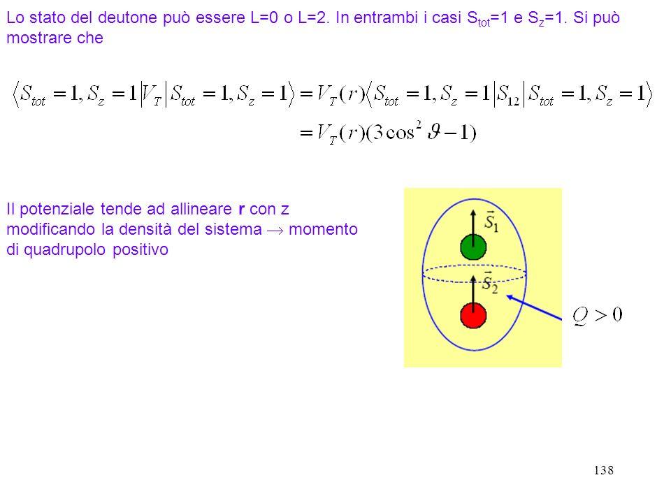 Lo stato del deutone può essere L=0 o L=2