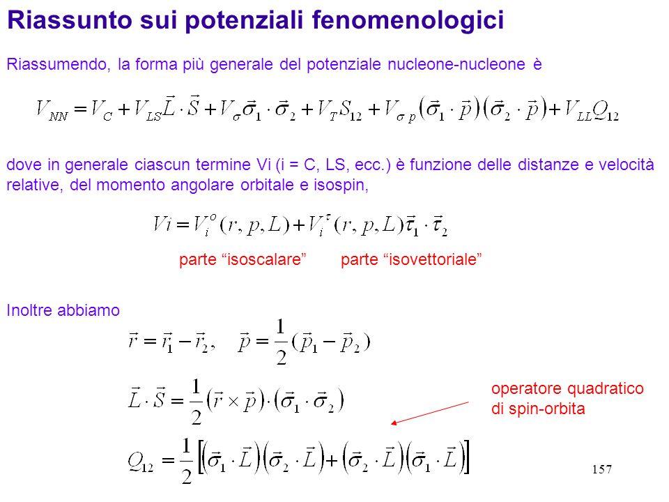 Riassunto sui potenziali fenomenologici