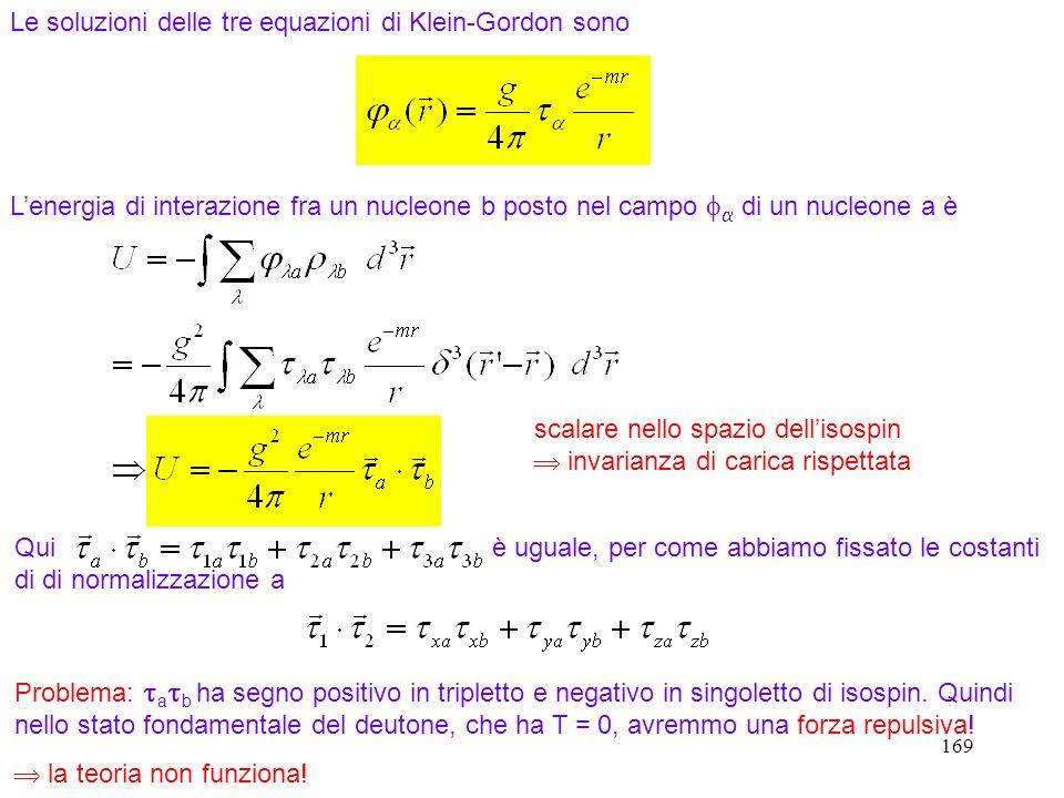 Le soluzioni delle tre equazioni di Klein-Gordon sono