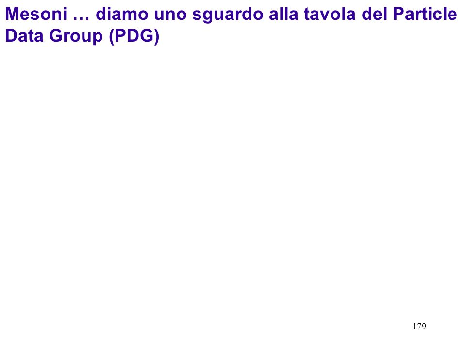 Mesoni … diamo uno sguardo alla tavola del Particle Data Group (PDG)