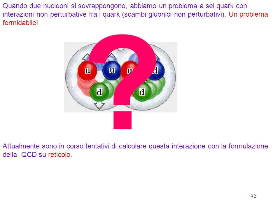 Quando due nucleoni si sovrappongono, abbiamo un problema a sei quark con interazioni non perturbative fra i quark (scambi gluonici non perturbativi). Un problema formidabile!