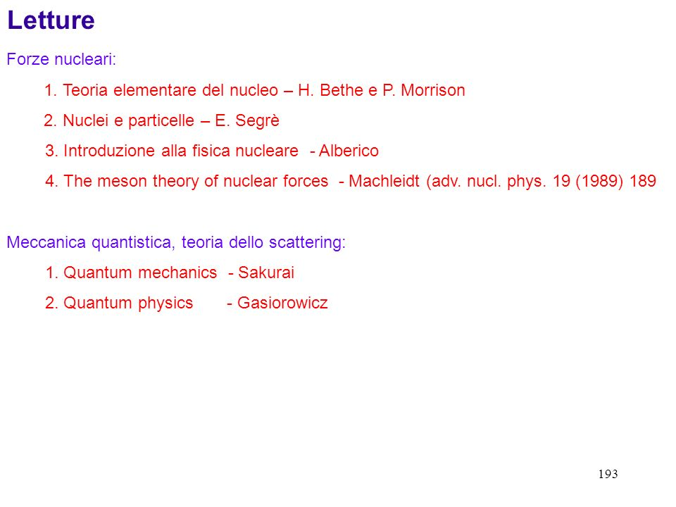 Letture Forze nucleari: