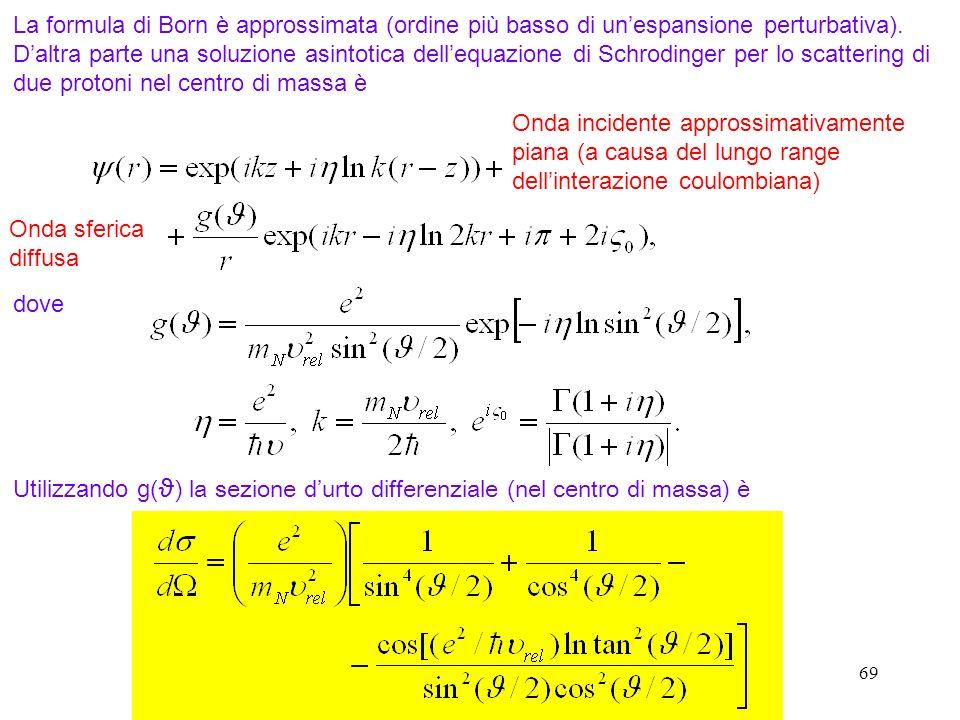 La formula di Born è approssimata (ordine più basso di un'espansione perturbativa). D'altra parte una soluzione asintotica dell'equazione di Schrodinger per lo scattering di due protoni nel centro di massa è