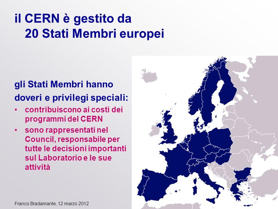 il CERN è gestito da 20 Stati Membri europei