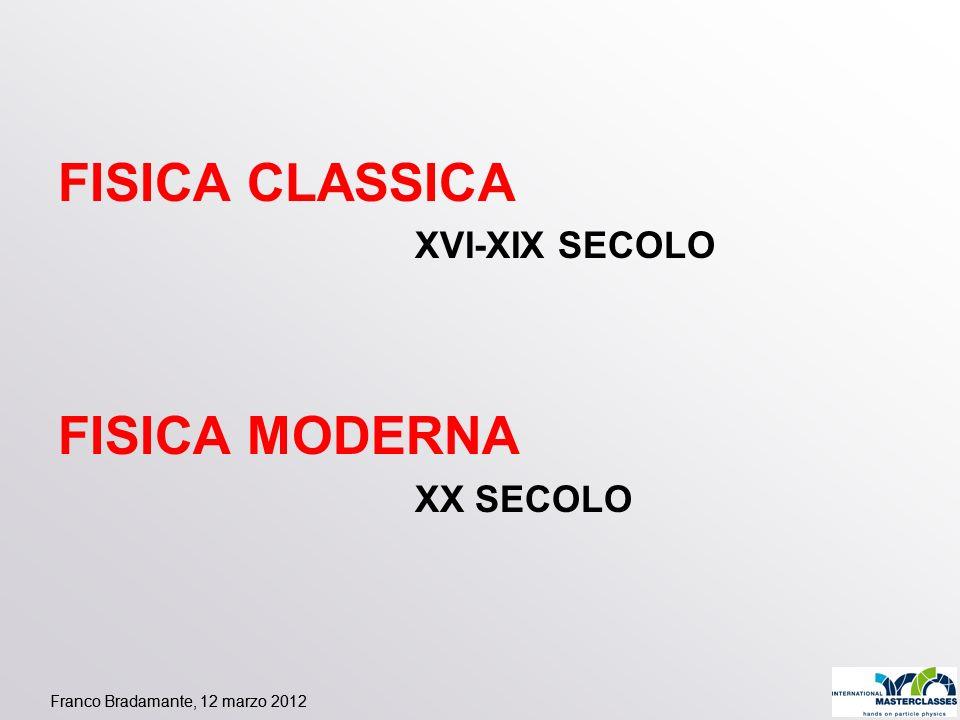 FISICA CLASSICA FISICA MODERNA XVI-XIX SECOLO XX SECOLO
