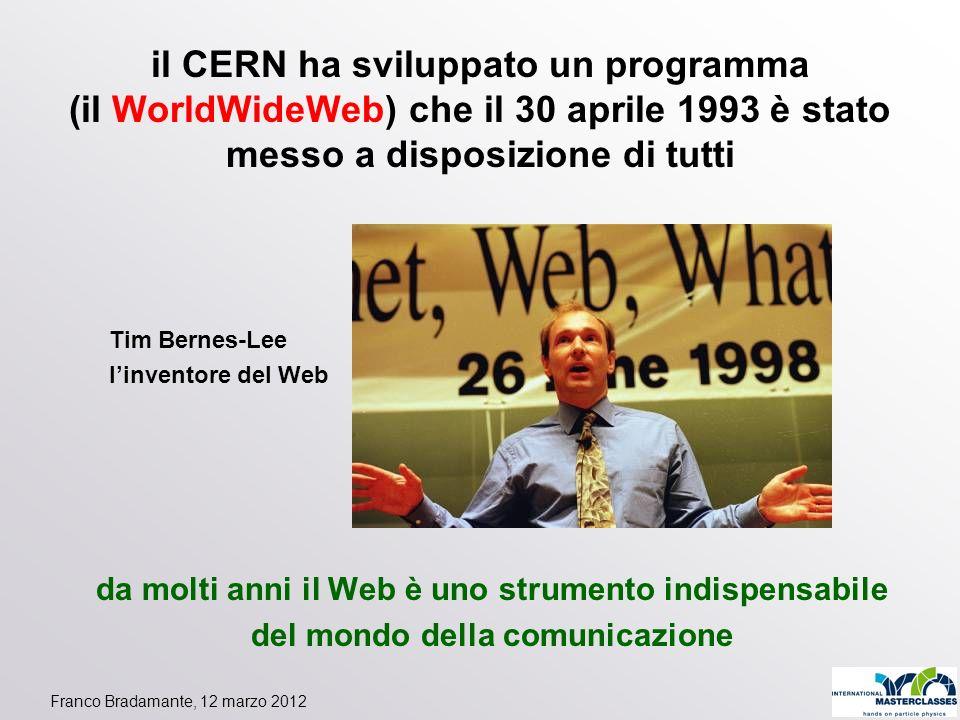 il CERN ha sviluppato un programma (il WorldWideWeb) che il 30 aprile 1993 è stato messo a disposizione di tutti