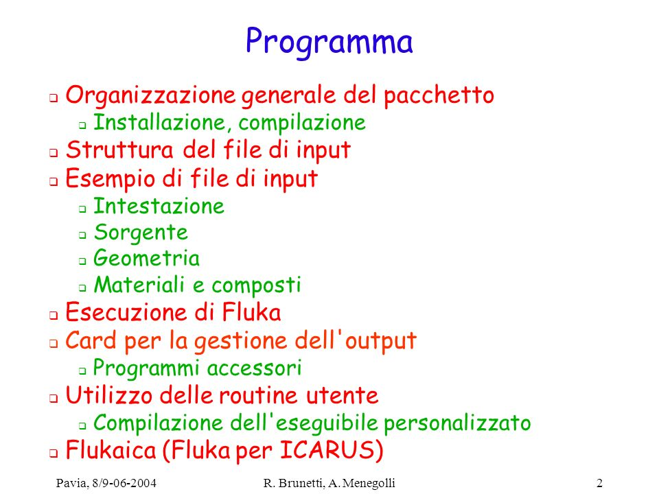 Programma Organizzazione generale del pacchetto