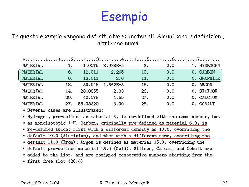 Esempio In questo esempio vengono definiti diversi materiali. Alcuni sono ridefinizioni, altri sono nuovi.