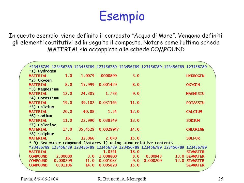 Esempio In questo esempio, viene definito il composto Acqua di Mare . Vengono definiti.