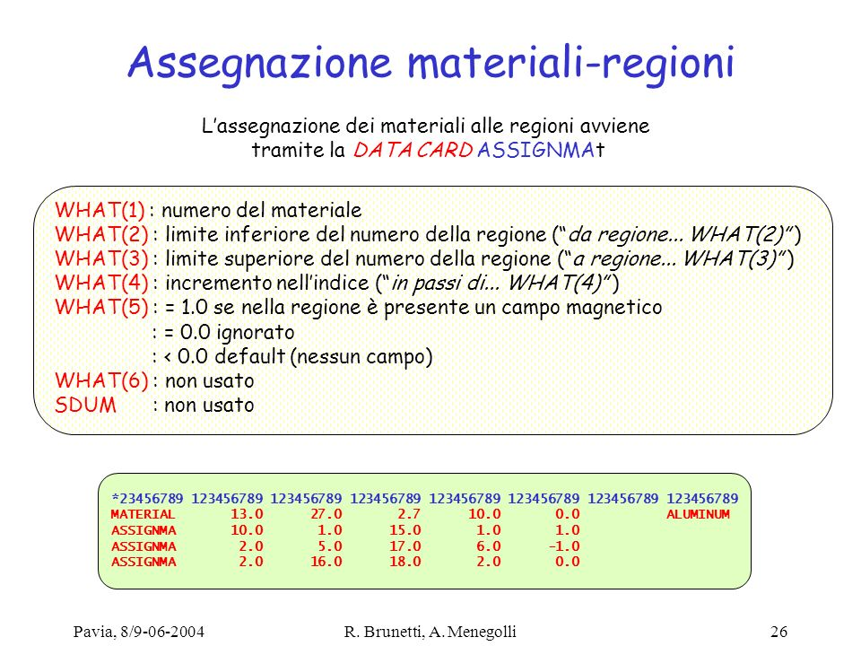 Assegnazione materiali-regioni