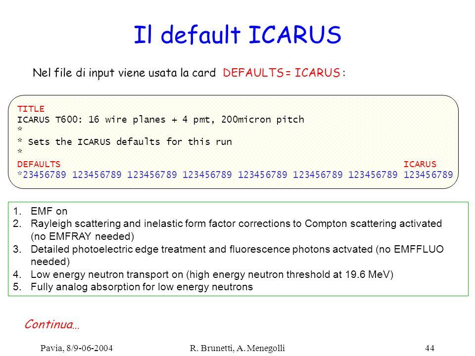 Nel file di input viene usata la card DEFAULTS = ICARUS :