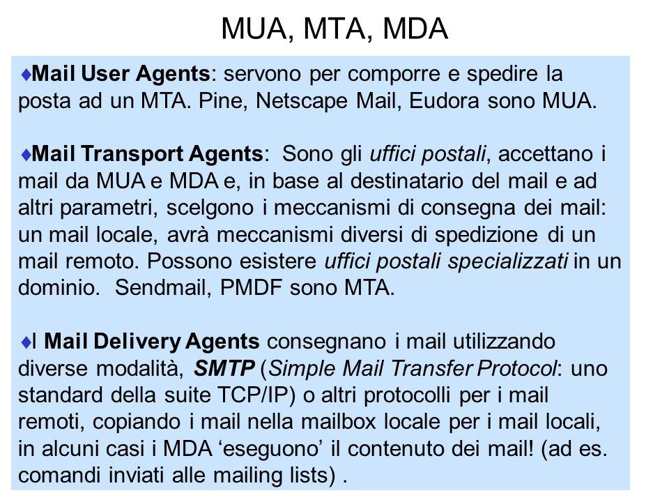 MUA, MTA, MDA Mail User Agents: servono per comporre e spedire la posta ad un MTA. Pine, Netscape Mail, Eudora sono MUA.