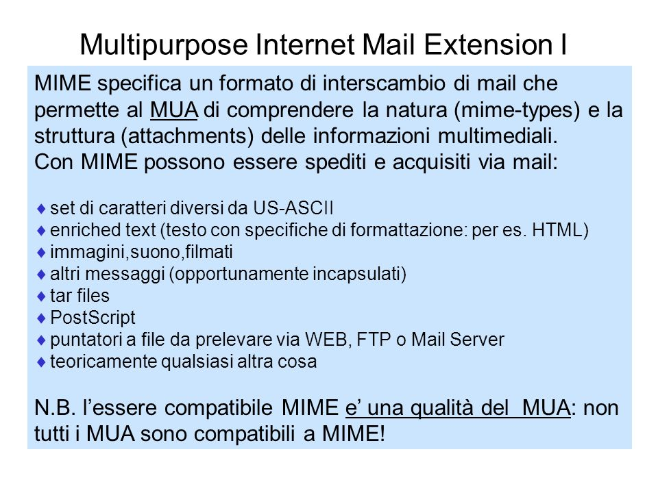 Multipurpose Internet Mail Extension I
