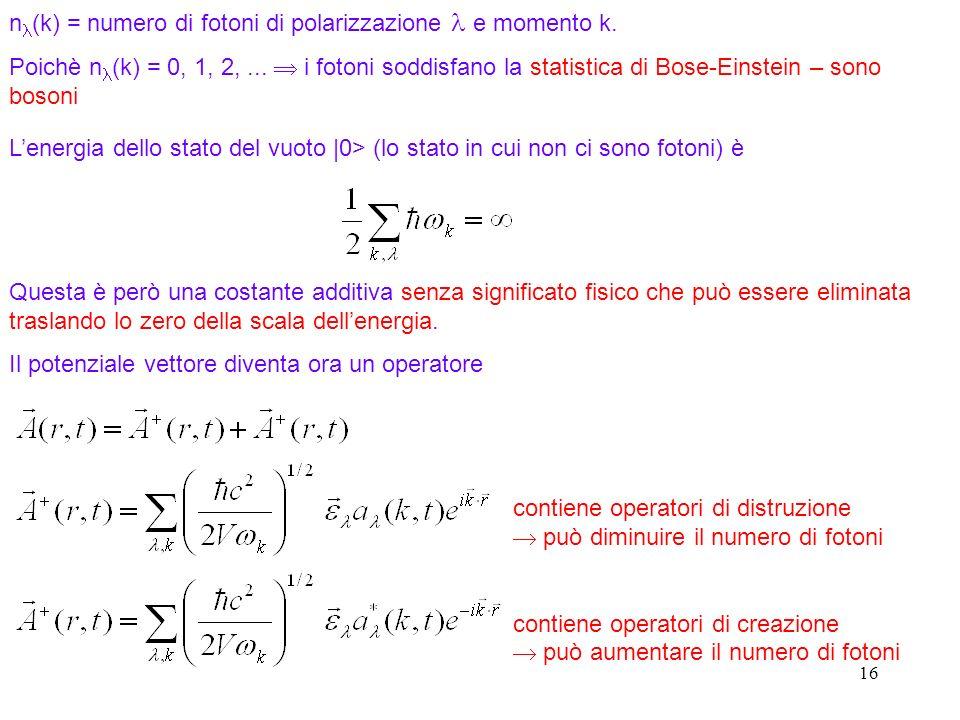 nl(k) = numero di fotoni di polarizzazione l e momento k.