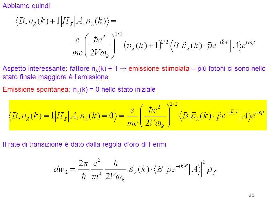 Emissione spontanea: nl(k) = 0 nello stato iniziale