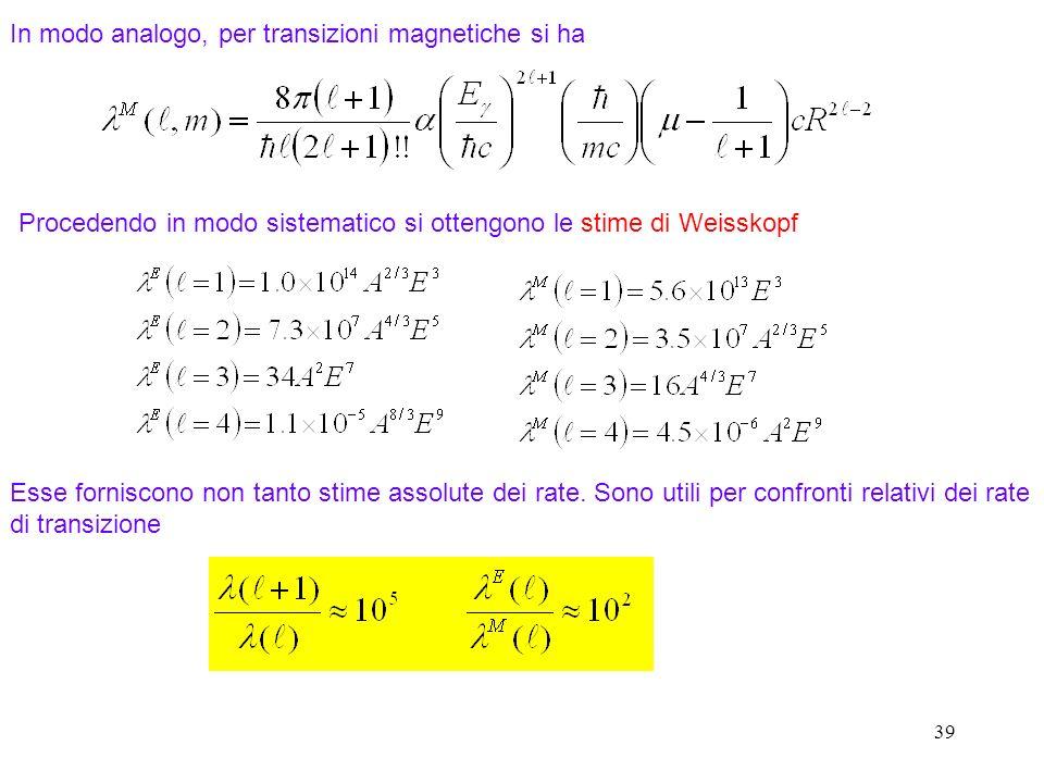 In modo analogo, per transizioni magnetiche si ha