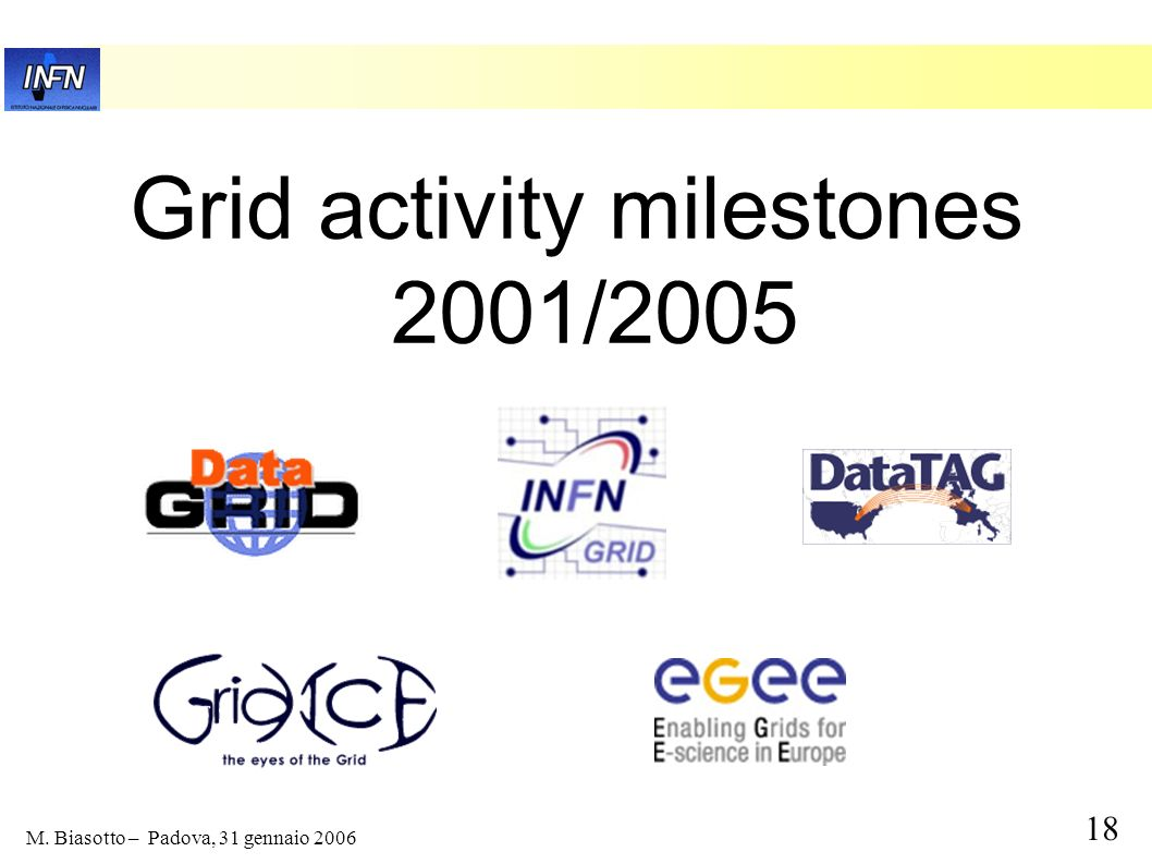 Grid activity milestones 2001/2005