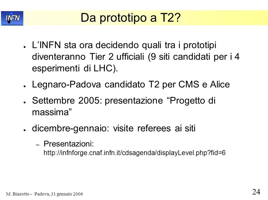 Da prototipo a T2 L'INFN sta ora decidendo quali tra i prototipi diventeranno Tier 2 ufficiali (9 siti candidati per i 4 esperimenti di LHC).