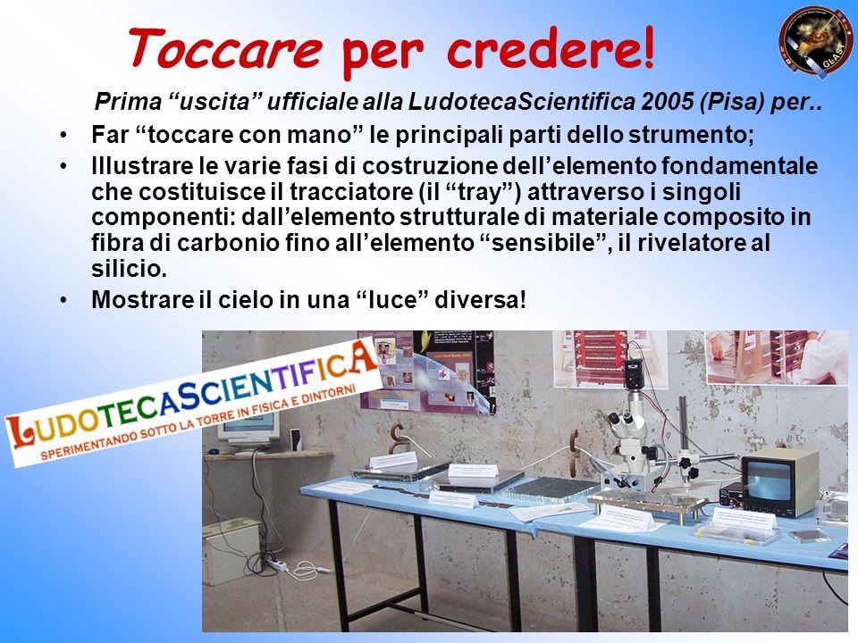 Toccare per credere! Prima uscita ufficiale alla LudotecaScientifica 2005 (Pisa) per.. Far toccare con mano le principali parti dello strumento;