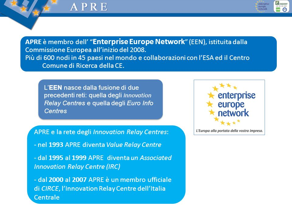 APRE è membro dell' Enterprise Europe Network (EEN), istituita dalla