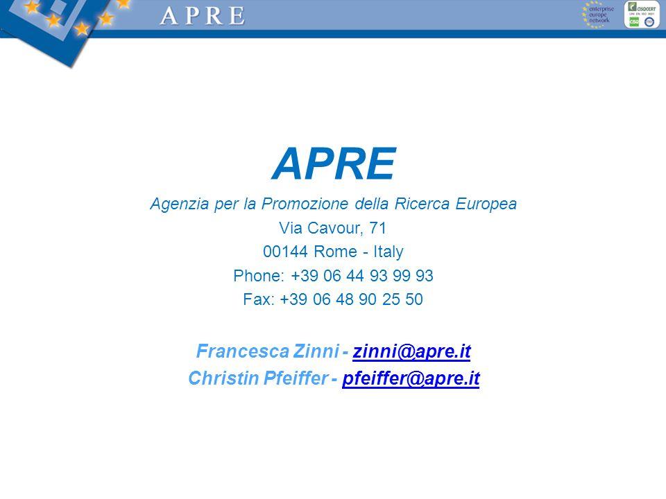 Francesca Zinni - zinni@apre.it Christin Pfeiffer - pfeiffer@apre.it