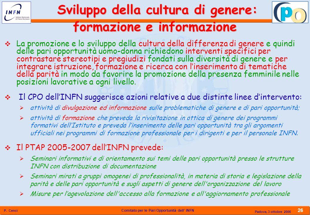 Sviluppo della cultura di genere: formazione e informazione