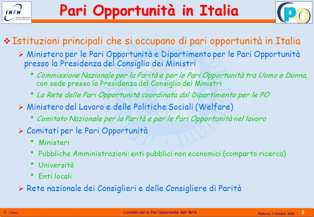 Pari Opportunità in Italia