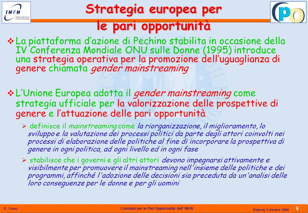 Strategia europea per le pari opportunità