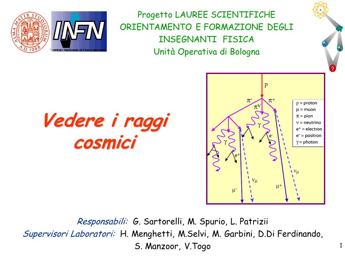 Vedere i raggi cosmici Progetto LAUREE SCIENTIFICHE