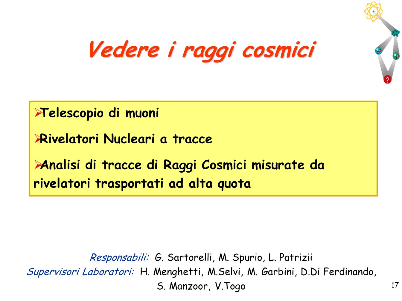 Responsabili: G. Sartorelli, M. Spurio, L. Patrizii