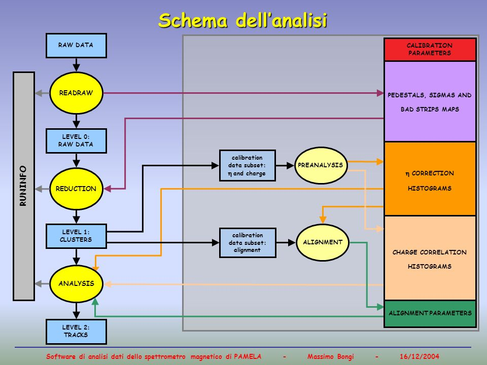 Schema dell'analisi RUNINFO READRAW  CORRECTION  and charge