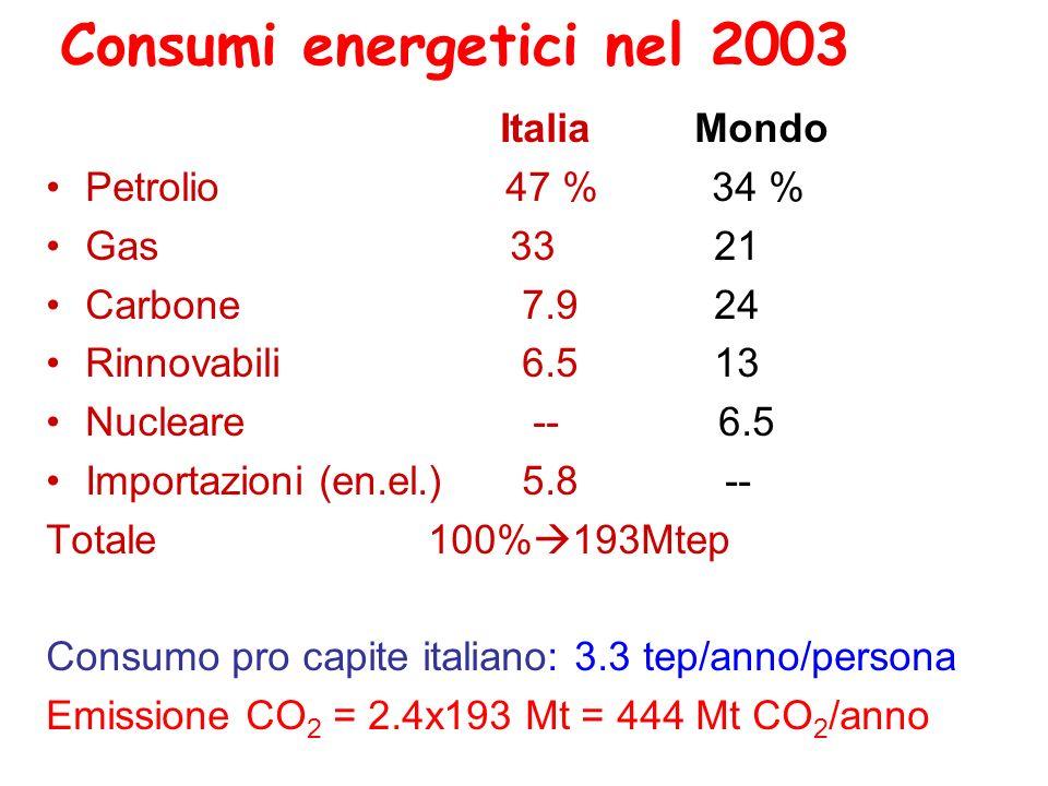 Consumi energetici nel 2003