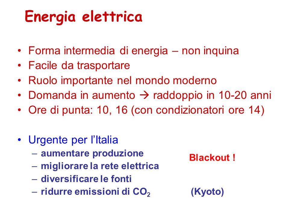 Energia elettrica Forma intermedia di energia – non inquina