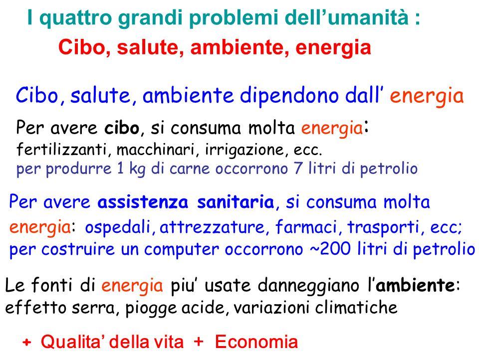 Cibo, salute, ambiente dipendono dall' energia