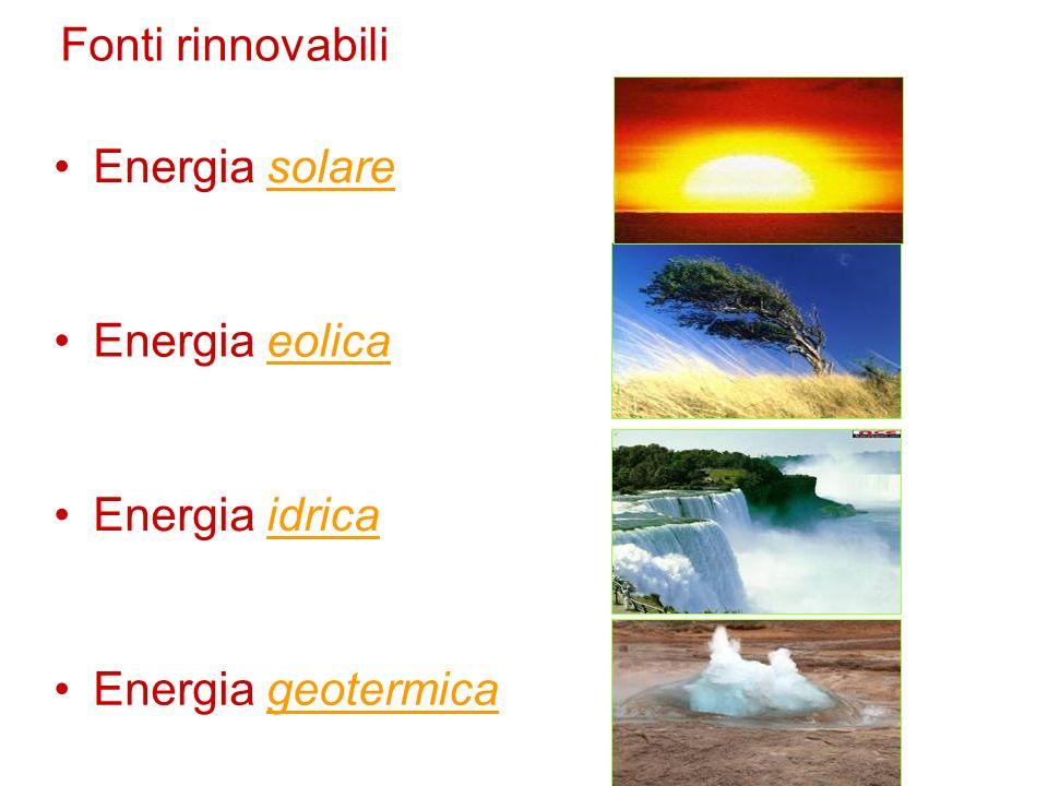 Fonti rinnovabili Energia solare Energia eolica Energia idrica Energia geotermica