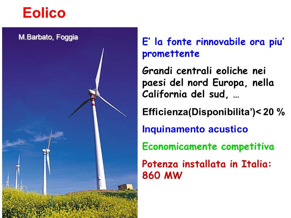 Eolico E' la fonte rinnovabile ora piu' promettente