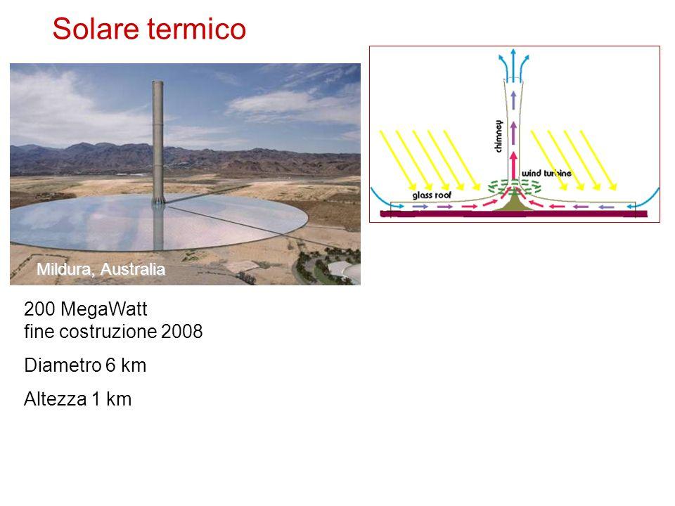 Solare termico 200 MegaWatt fine costruzione 2008 Diametro 6 km