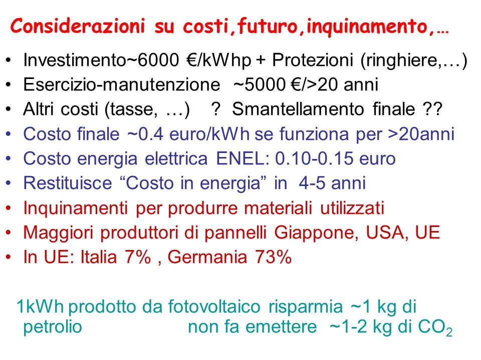 Considerazioni su costi,futuro,inquinamento,…